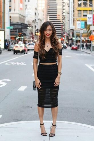 shoes black off shoulder top black sheer pencil skirt necklace strappy black heels blogger