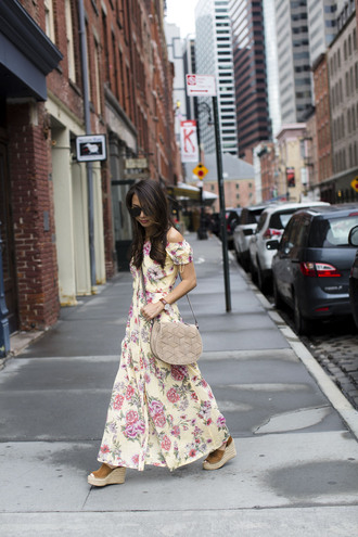 dress tumblr floral maxi dress maxi dress floral floral dress long dress off the shoulder off the shoulder dress bag grey bag sandals wedges wedge sandals shoes