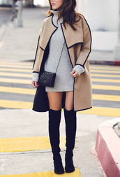coat,skin colour,black,tumblr,boots,purse,fashion,oversized,stylish,dress,turtleneck,outfit,outfit idea