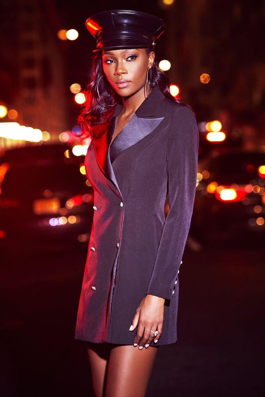 Rebekah Contrast Lapel Double Breasted Blazer Dress - Black