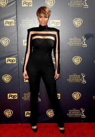 blouse top tyra banks pants jumpsuit pumps