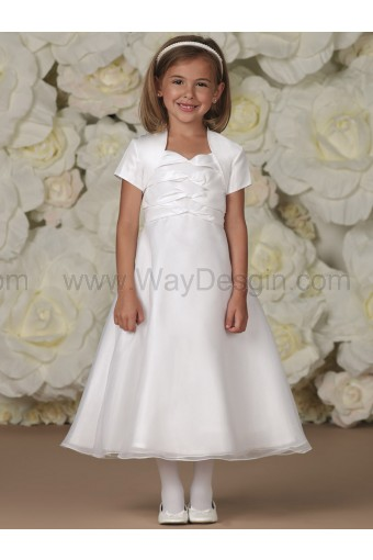 Joan Calabrese White Two-Piece Taffeta & Organza Dress Set