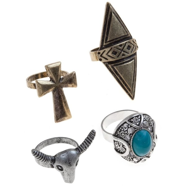 Gold and Silver Ox Cross Ring Set - Polyvore