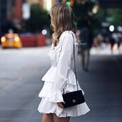 dress,tumblr,mini dress,white dress,long sleeves,long sleeve dress,ruffle,ruffle dress