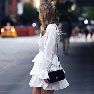 dress tumblr mini dress white dress long sleeves long sleeve dress ruffle ruffle dress