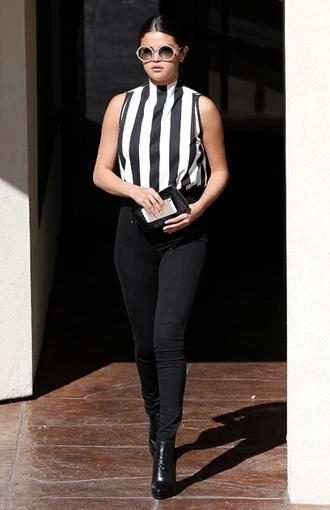 blouse selena gomez black and white sunglasses
