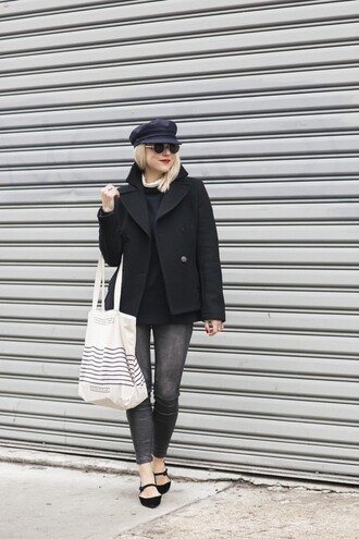 my style pill blogger hat sweater coat pants shoes sunglasses bag black coat grey jeans canvas bag jacket tumblr black jacket wool wool jacket white bag tote bag fisherman cap jeans black sweater