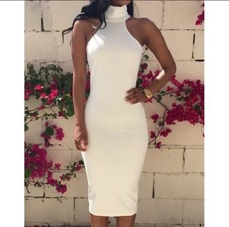 white white dress bodycon dress classy dope halter neck turtleneck dress turtleneck gold watch pencil dress dress