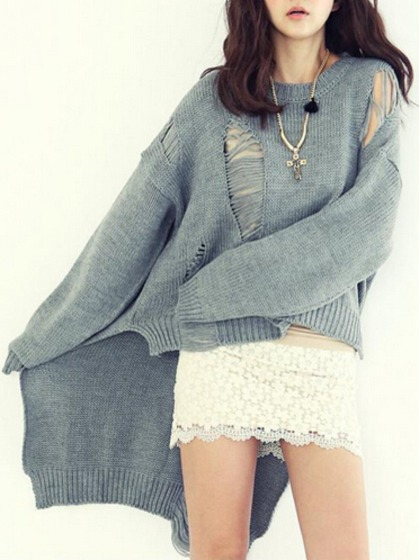 Grey oversize high low cut out sweater