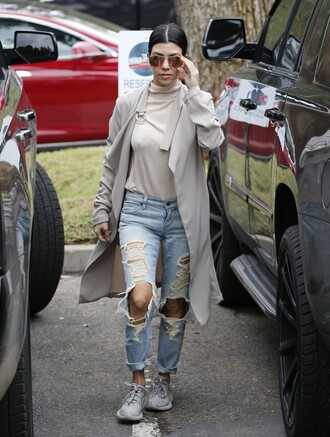 coat sunglasses ripped jeans turtleneck sneakers fall outfits sweater denim kourtney kardashian kardashians trench coat white turtleneck top