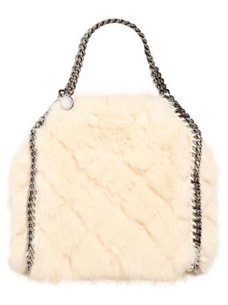 mini fur faux fur bag white