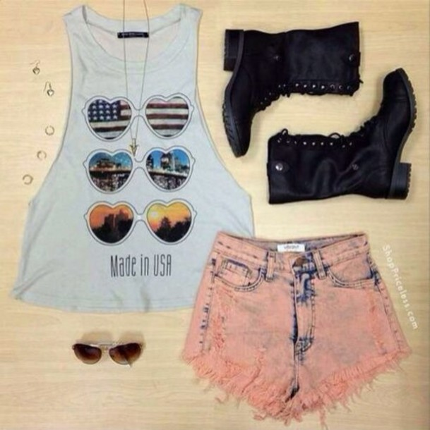 shirt hippie hipster summer summer outfits shorts cut off shorts boots combat boots pink sunglasses tank top dope cute cute outfits shoes t-shirt