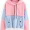 Color block drawstring hooded sweatshirt -shein(sheinside)