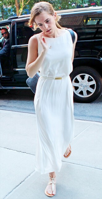 white dress maxi dress emma watson shoes
