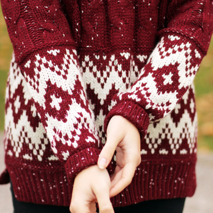 Snowflake Jumper Knitting Pattern : sweater winter sweater red knit sweater burgundy white print cute christmas s...