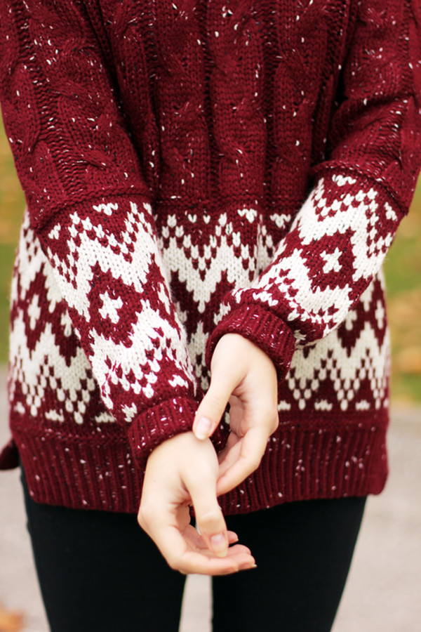 sweater winter sweater red knit sweater burgundy white print holiday season christmas sweater cute red and white winter outfits snowflake christmas red warm jumper white pattern tumblr knitted sweater