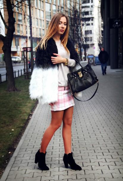 dream love shop blogger plaid skirt fluffy fuzzy coat ombre purse coat skirt top jewels bag shoes