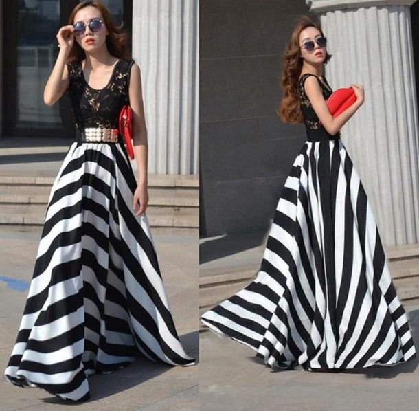 dress classy dress black and white dress maxi dress lace up