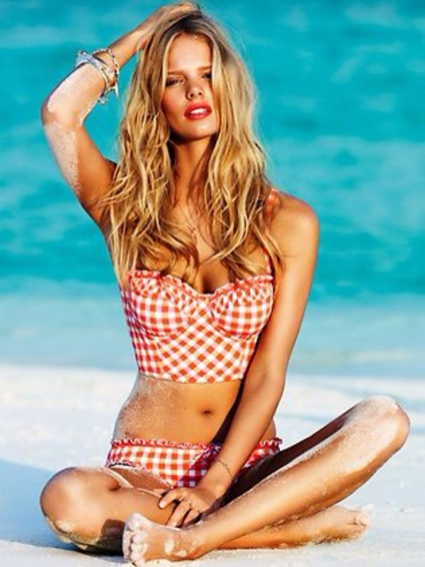 swimwear checkered swimwear red pink
