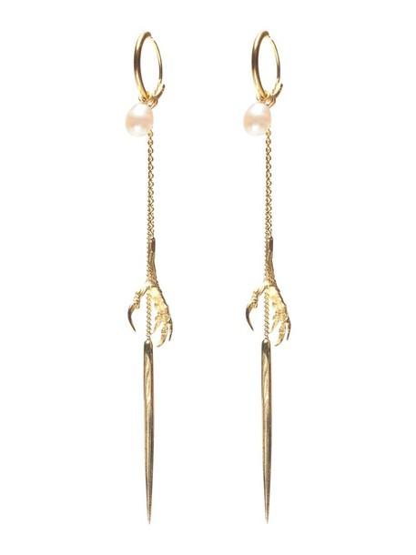 Wouters & Hendrix Gold spikes women earrings gold yellow grey metallic jewels