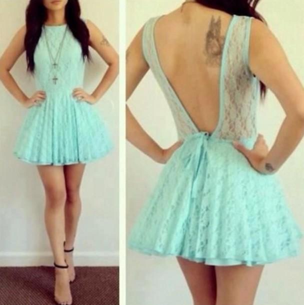 dress mint dress lace pattern