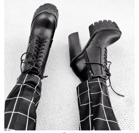 shoes platform shoes high heels boots laces black boots ankle boots