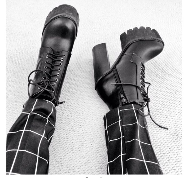 shoes boots heels laces black boots ankle boots platform shoes truffle