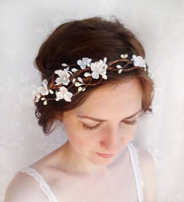 Boho bridal hair crown flower crown woodland wedding head piece as seen in hair accessory white hairstyles flower mightylinksfo