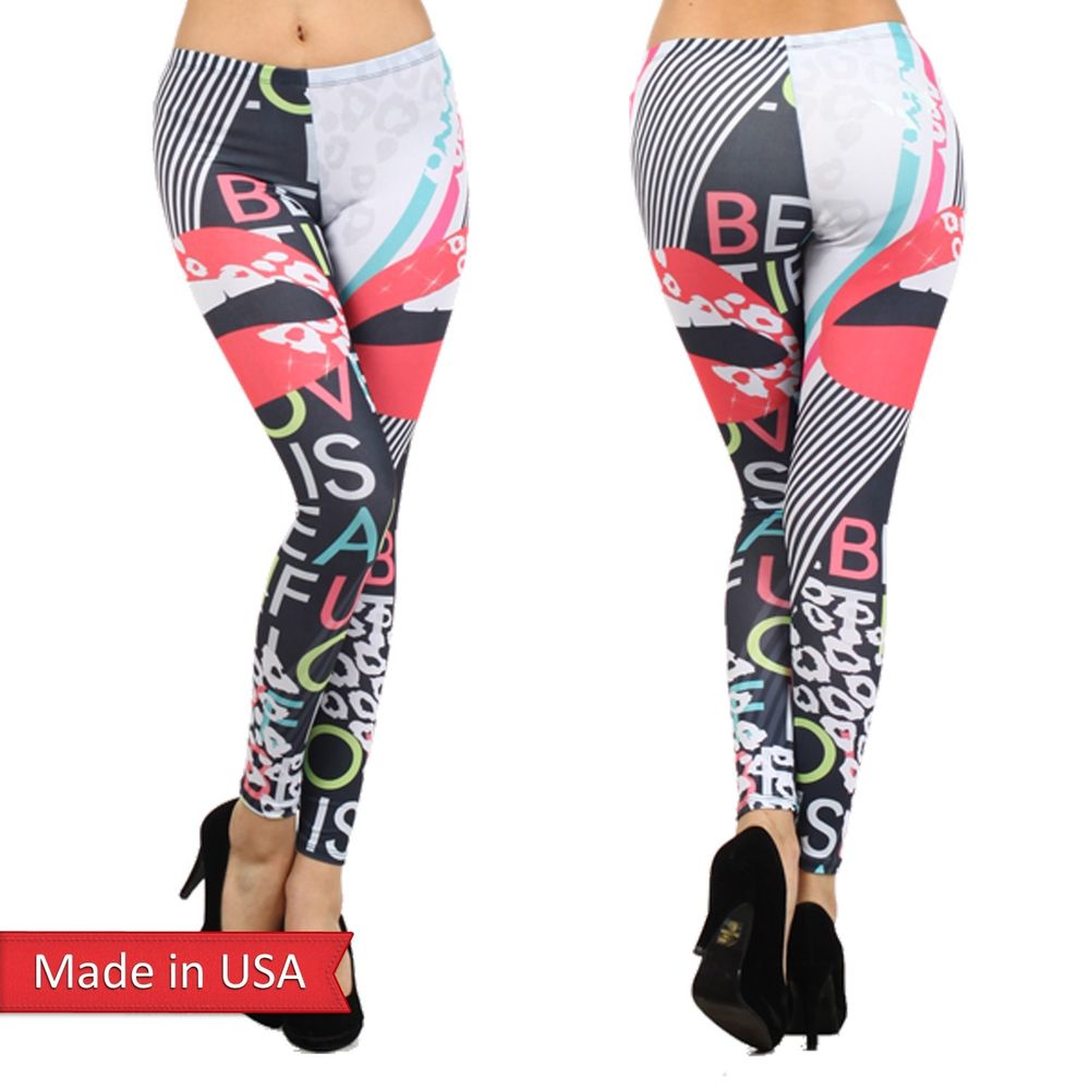 Love is beautiful Color Lips Stripes Animal Leopard Leggings Tights Pants USA