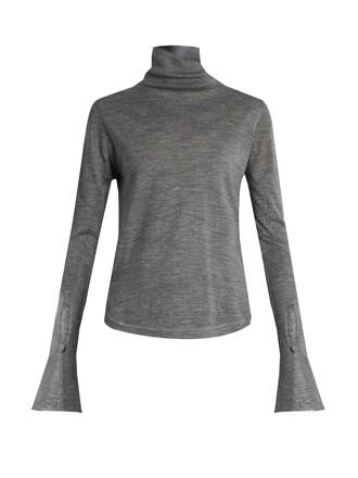 sweater silk wool grey