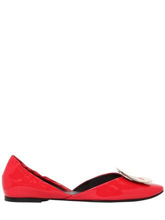 flats leather coral shoes