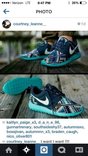 shoes tribal/ aztec pattern nike free runs
