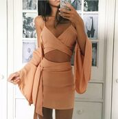 dress,two piece dress set,peach dress,plunge v neck,high waisted skirt,blouse,skirt,peach,beige,low cut,bell sleeves,twitter,instagram,romper,peachish coralish color,coral,pink dress,nude,two-piece,bralette,tank top,pencil skirt,set,outfit,sash,nude colored,peach colored,short,cropped