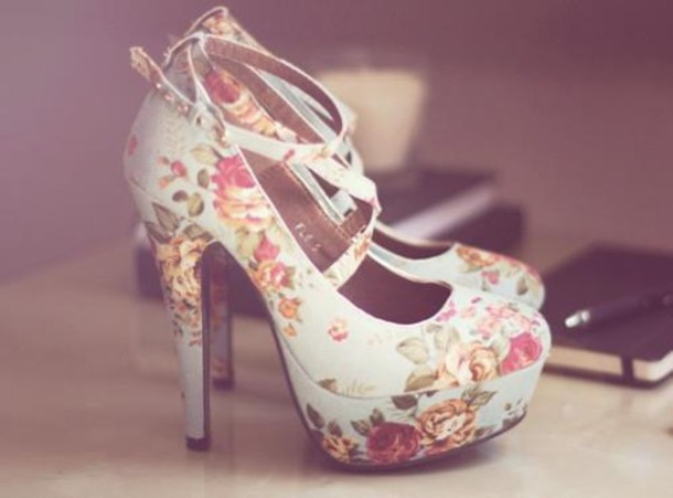 Shoes high heels roses floral shoes floral white shoes pumps like follow mightylinksfo