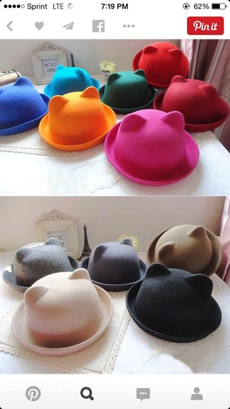 hat cat ears bowler hat bowlerhat vintage