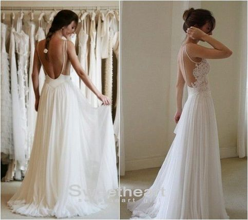 Sweetheart Girl   Custom Made A line Chiffon Backless Lace Prom Dresses, Wedding Dresses   Online Store Powered by Storenvy