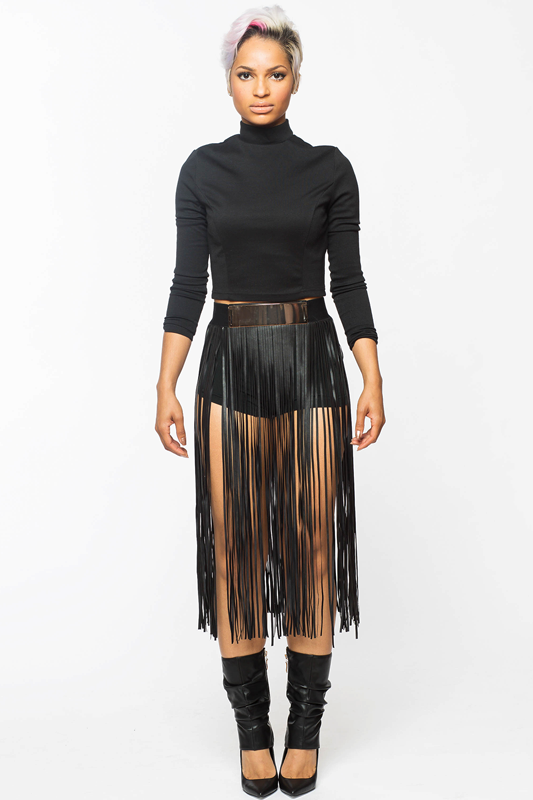 FRINGE Faux Leather Skirt – FLYJANE