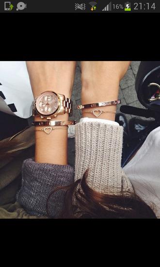 jewels bracelets gold heart watch cute friends luxury