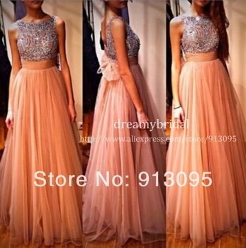 Real sample! evening gowns tank stones crystal beaded tulle a line long prom dresses 2014 graduation dresses free shipping