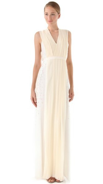 gown pleated shell dress