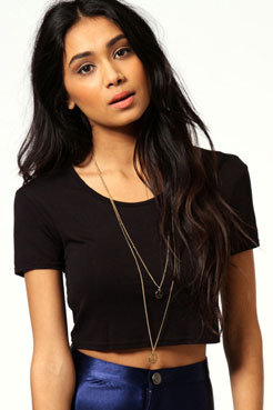 Nicole Short Sleeve Crop Top at boohoo.com