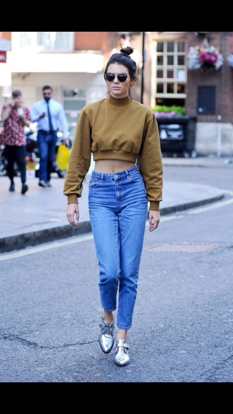 sweater kardashians urban kendall jenner kendall and kylie jenner style cropped sweater jeans