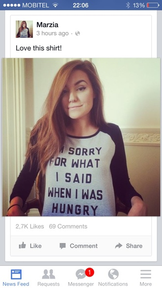 top lovrić awesom t-shirt awesome shirt funny shirt blouse black splice half white light baby blue hungry food quote on it marzia sleeves tumblr cute pretty sweet girl
