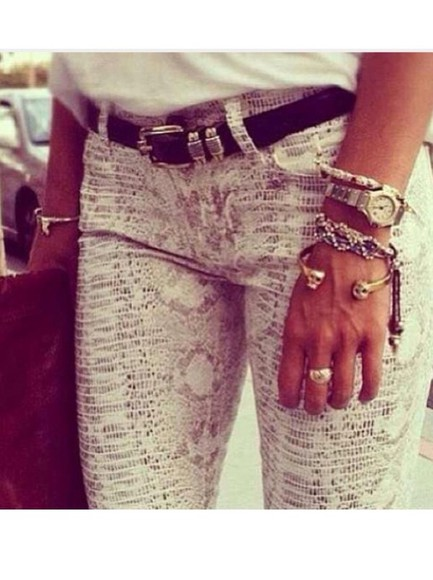 pants snake snake print denim