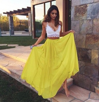 skirt long skirt summer skirt yellow skirt chic