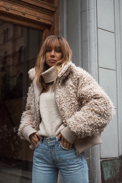 sweater tumblr fuzzy jacket jeans denim top turtleneck nude sweater