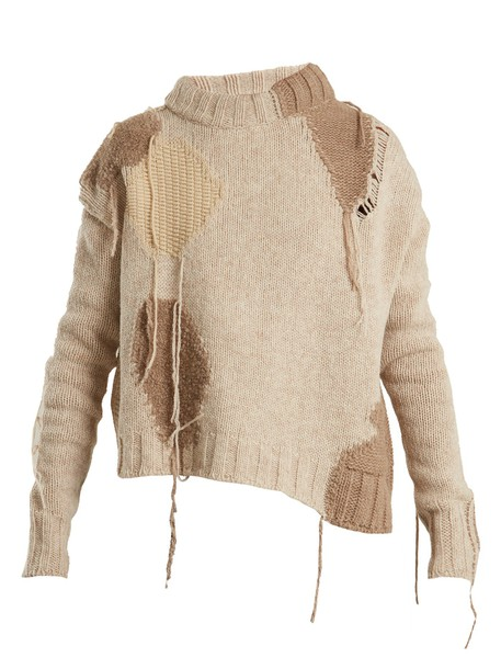 Acne Studios sweater patchwork wool beige