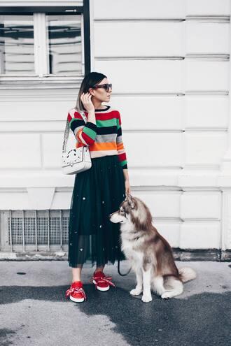 skirt midi skirt sweater striped sweater blogger blogger style slippers shoulder bag