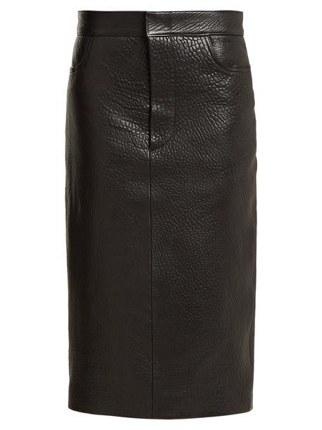 RAEY Tumbled-leather midi pencil skirt in black