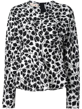 blouse floral print white top
